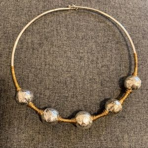 TwoToned Soho Sculptural Bead Wire Collar Necklace